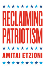 Book cover with title Reclaiming Patriotism and author Amitai Etzioni in red text and blue stars