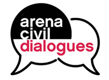 the words arena civil dialogues appear in two overlapping speech bubbles