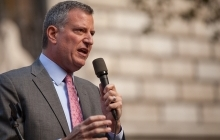Mayor De Blasio addressing a crowd