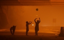 Children playing in smog