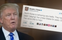 Donald trump next to photo of tweet