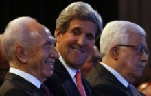 Secretary of State John Kerry with Israeli President Peres (left) and Palestinian President Abbas (right)