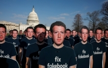 Dozens of cardboard cutouts of Facebook CEO Mark Zuckerberg are seen during an Avaaz.org protest outside the U.S. Capitol