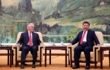 Rex Tillerson sitting with Xi Jinping.