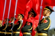 Chinese Soldiers Carrying Flags