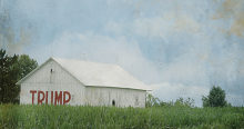 "Barn with ""Trump"" painted on it."