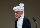 Afghanistan's President Ashraf Ghani appears in three-quarters profile as he arrives at his inauguration in Kabul on 3/9/2020