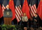 VP Joe Biden speaks at the US-China Strategic and Economic Dialogue in 2011; Secretarys Hillary Clinton and Tim Geithner listen